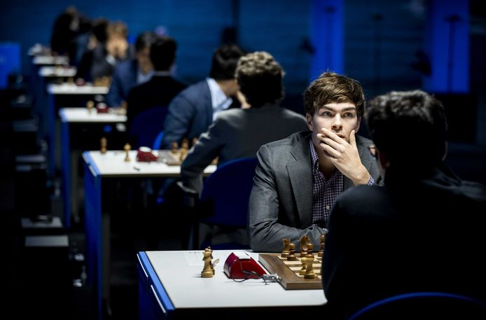 Jorden van Foreest tijdens het Tata Steel Chess Tournament in Wijk aan Zee.
