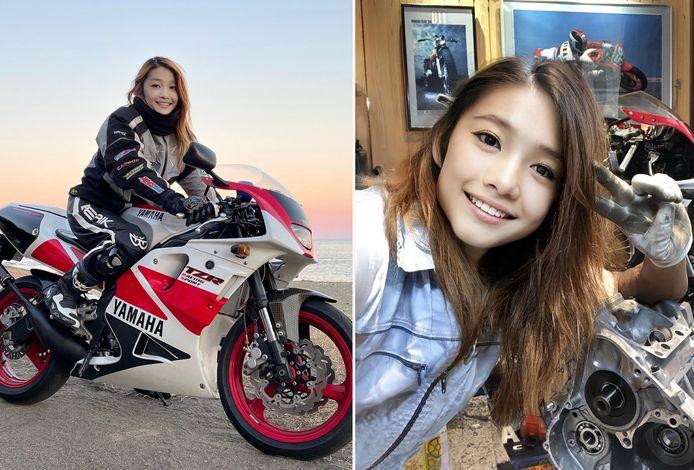 """Op de rechterfoto is een """"behaarde mannenarm"""" zichtbaar, ontdekten enkele fans van de jonge Japanse motorrijdster, die een man bleek te zijn."""