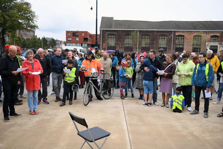 De fietsers zongen voor betere en veiligere straten.