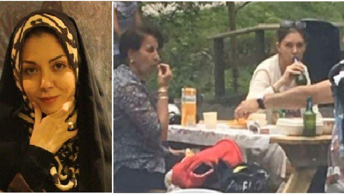 Azadeh Namdari, rechts lijkt ze van een fles bier te drinken en draagt ze geen hoofddoek.