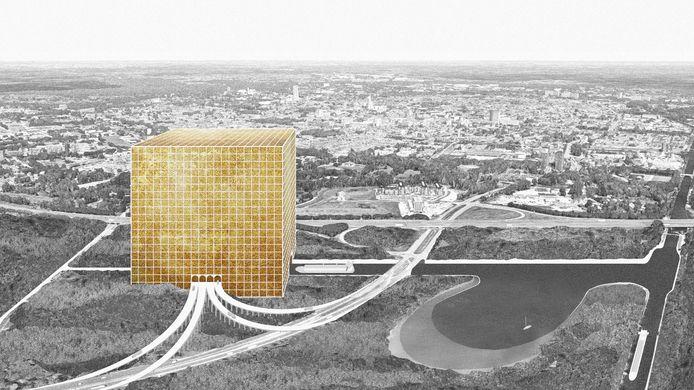 Idee: een kolossale kubus als mega-distributiecentrum, nabij knooppunt De Baars in Tilburg.