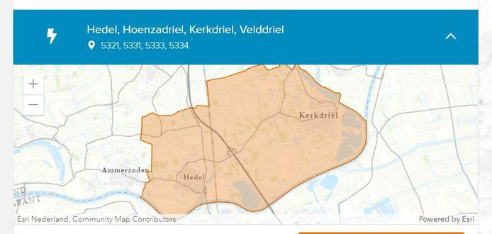 Het gebied dat volgens Liander hinder ondervindt van de stroomstoring.