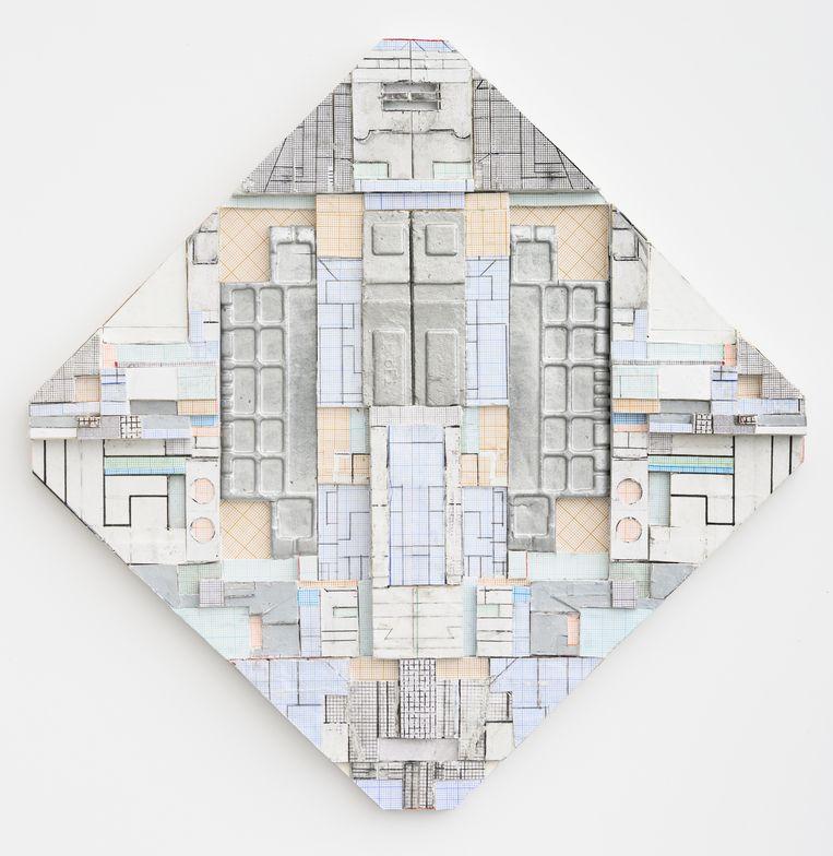 Philip Metten, 'C-220519'. Collage on paper, 33,6 x 33,8 cm, 3.200euro. Beeld PETER COX/courtesy Zeno X Gallery, Antwerp