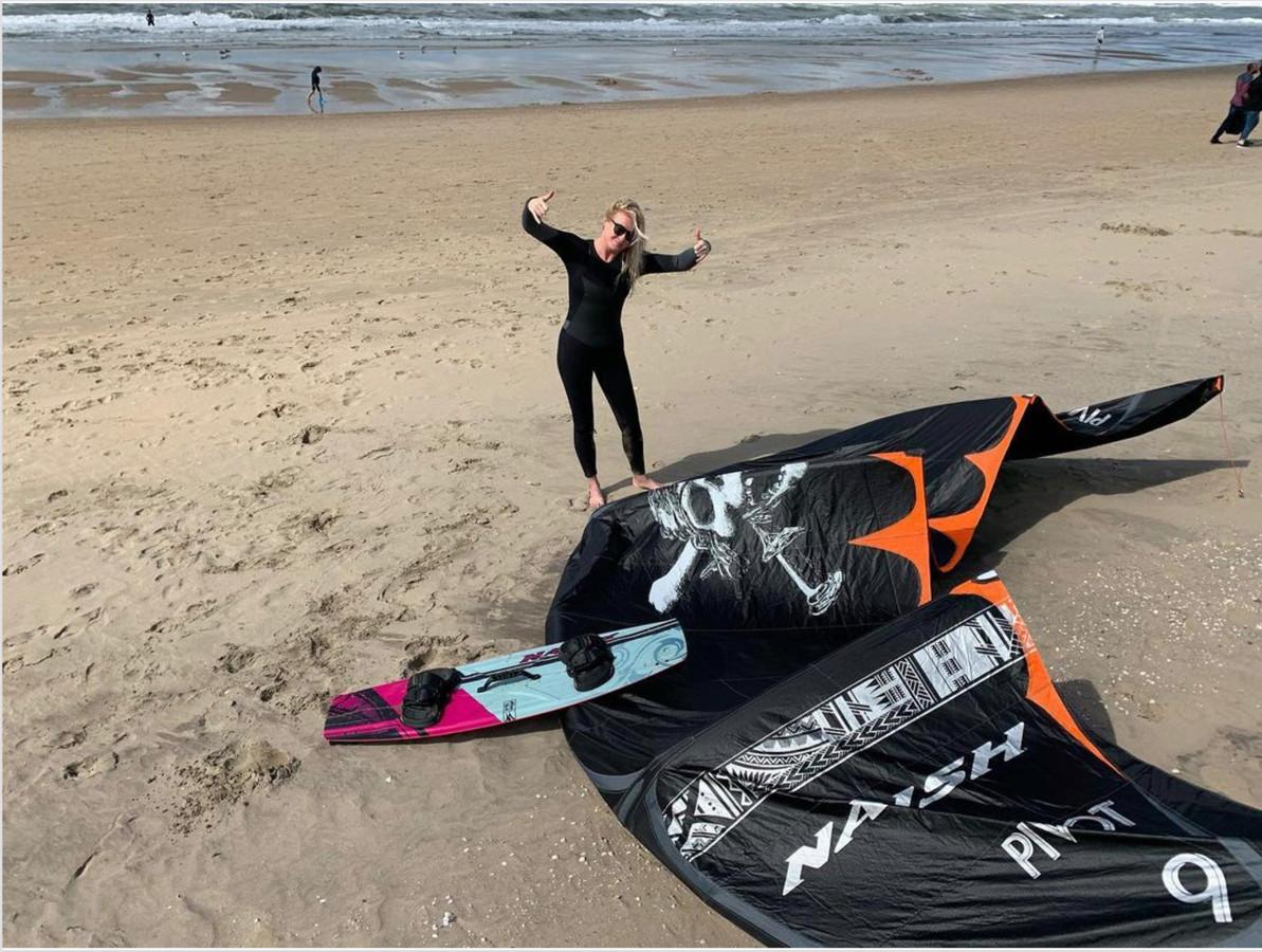 Kiten is een grote passie van Sanne Hans