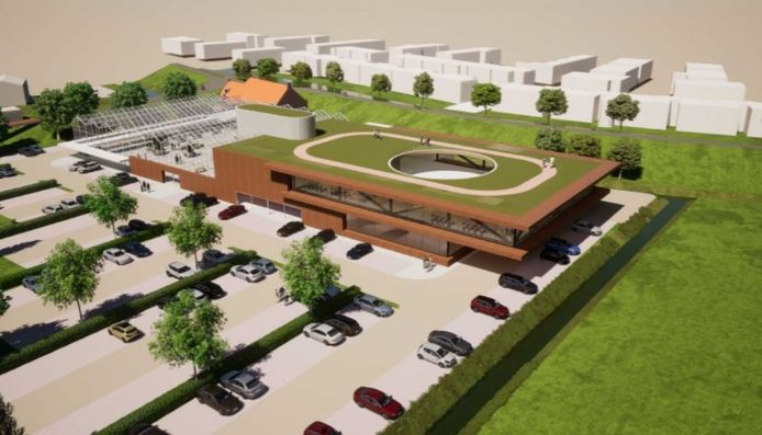 Het tuincentrum met de sportschool, met ervoor parkeerplekken. Achter de dijk is de Indusstraat.