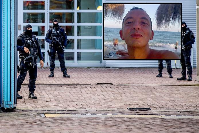 Zwaar bewapende agenten voor de ingang van de Extra Beveiligde Inrichting (EBI) in Vught, na de komst van Ridouan Taghi (inzet).