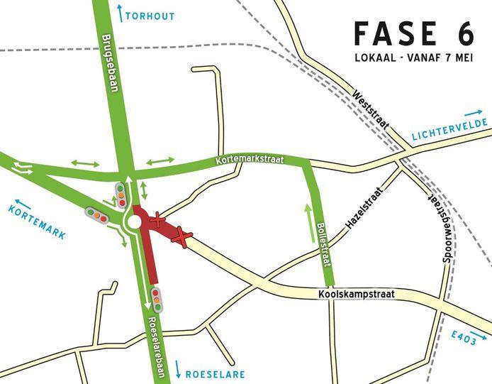 Bij de volgende fase in de werken wordt de rotonde aangepakt en wordt de Koolskampstraat afgesloten.