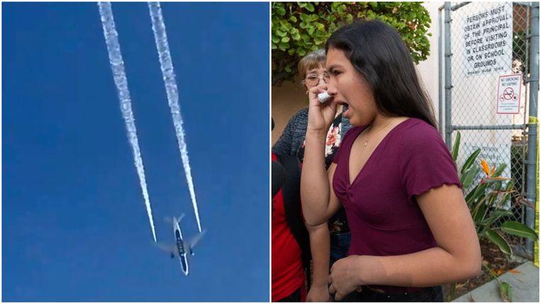 Links: Delta Airlines vlucht 89 dumpt kerosine boven Los Angeles. Rechts: een vrouw heeft last van huid- en of oogirritaties door het contact met de brandstof. Beeld AP