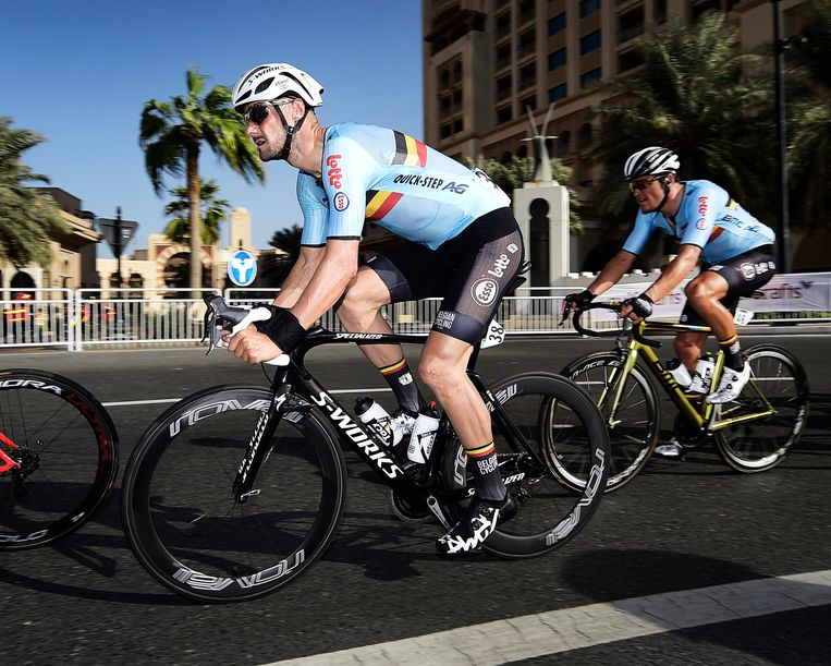 Tom Boonen en Greg Van Avermaet.  Beeld BELGA