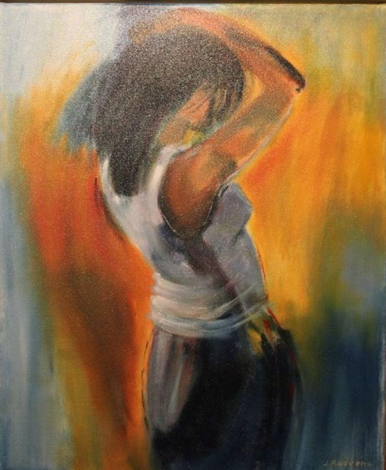 Karine Raevens verkoopt onder andere schilderijen van de hand van haar ouders ten voordele van Give us a break.