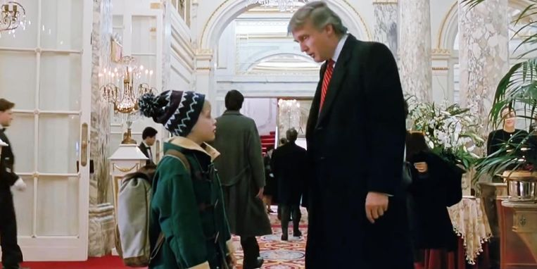 Macaulay Culkin en Donald Trump in Home Alone 2 Beeld Twentieth Century Fox Film