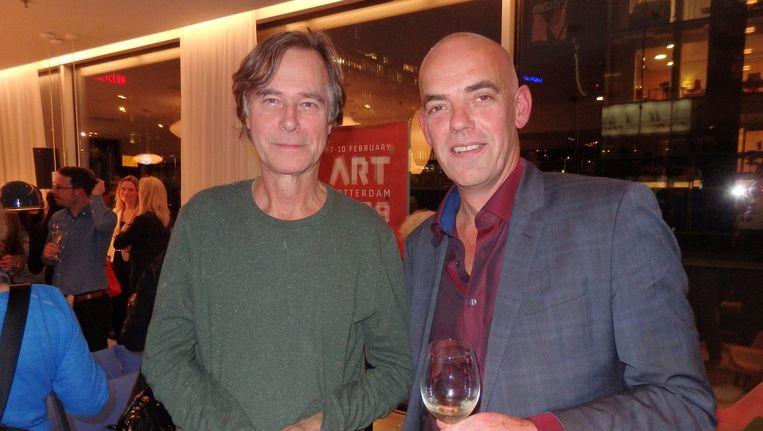 Galeriehouder Martin van Vreden en Art Rotterdamdirecteur Fons Hof: 'Ons grote feest is in Atelier Van Lieshout, hoor' Beeld Schuim
