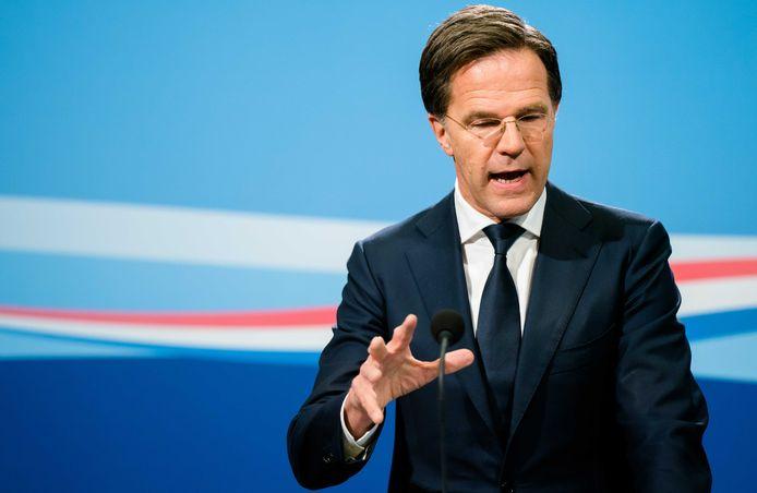 Premier Mark Rutte tijdens de wekelijkse persconferentie.