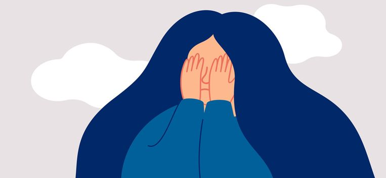 Sad female adolescent covers her face with palms. Concept of abuse and bully, Physical and emotional violence against women and adolescents. Vector illustration Beeld Getty Images/iStockphoto