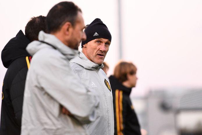 Filip De Wilde als trainer van de nationale U21.