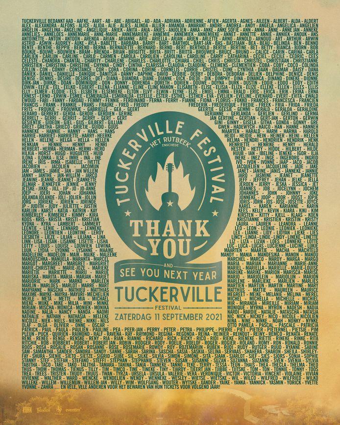 De 'bedank-poster' van Tuckerville die vanaf deze zaterdag door heel de regio te zien is. Het festival op Het Rutbeek ging door de coronacrisis dit weekend niet door en is volgen jaar weer terug.