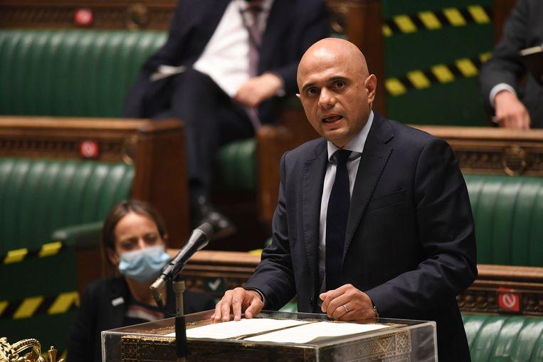 Minister van Volksgezondheid Sajid Javid in het Britse Lagerhuis (05/07/2021) Beeld AP