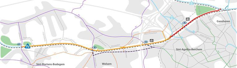 Het traject dat normaal gezien vanaf 2021 aangelegd zal worden in Dilbeek