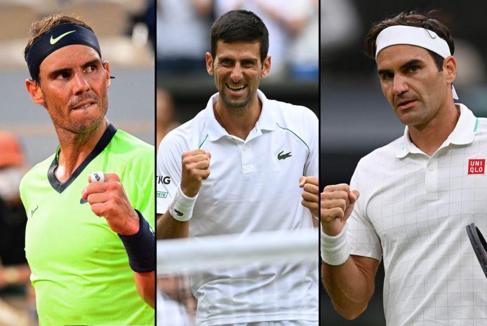 Rafael Nadal, Novak Djokovic en Roger Federer.