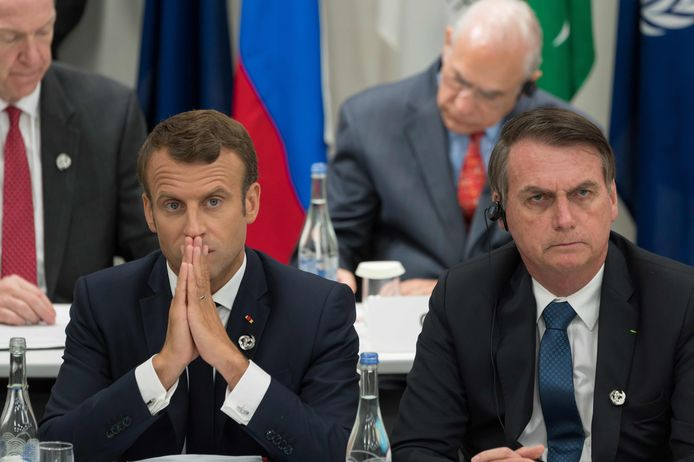 Emmanuel Macron et Jair Bolsonaro lors du G20 à Osaka fin juin 2019.