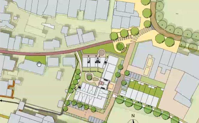 Plattegrond van het plan voor een zorgcomplex aan de Pastoor Aldenhuijsenstraat (rood gekleurd) in Nuenen. Aan de straat komen drie woningen, daarnaast negen appartementen en erachter, tegen de Clemenskerk aan, 33 zorgappartementen.
