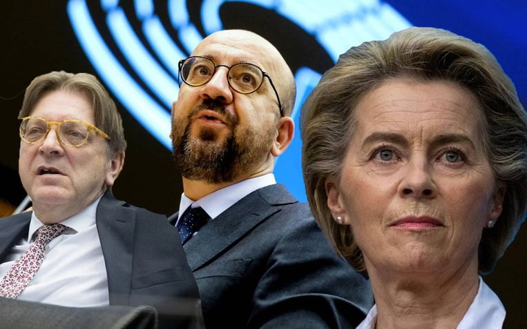 Guy Verhofstadt, Charles Michel en Ursula Von der Leyen. Beeld Reuters/Humo