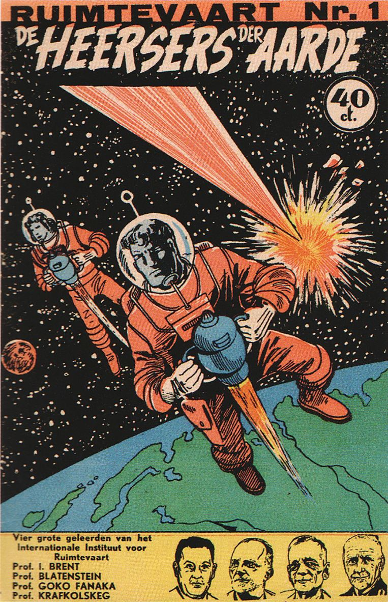 Cover van deel één uit een tiendelige stripserie over Ruimtevaart door Martin Lodewijk.  Beeld null
