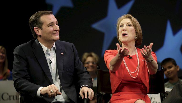 Ted Cruz en Carly Fiorina. Beeld REUTERS