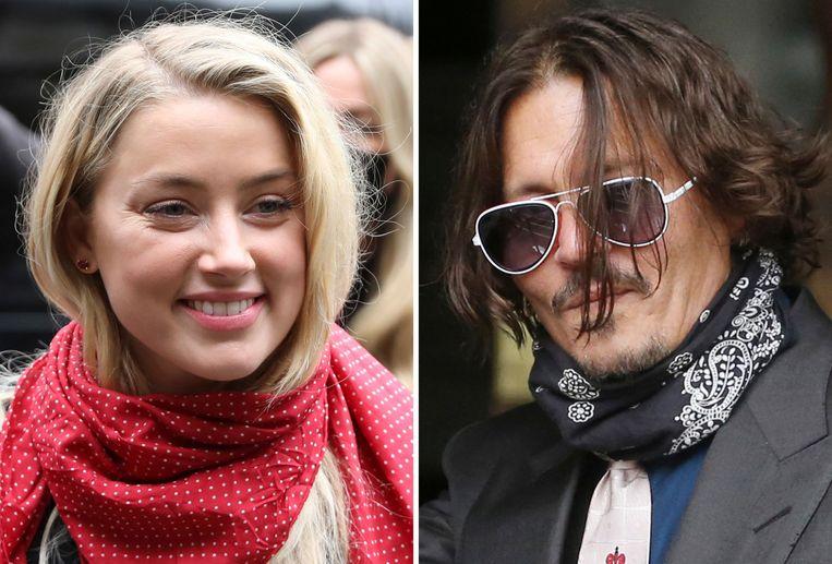 Amber Heard en Johnny Depp vorig jaar tijdens het proces. Beeld AFP