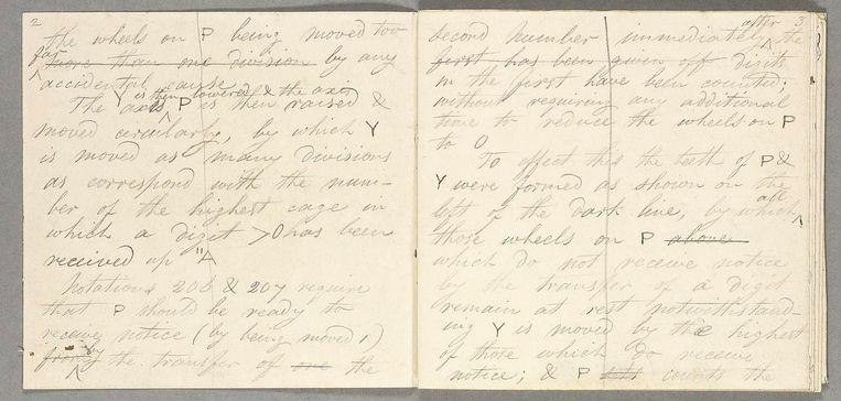 Pagina's uit een aantekenboek van wiskundige Charles Babbage (1841). Beeld Science Museum London