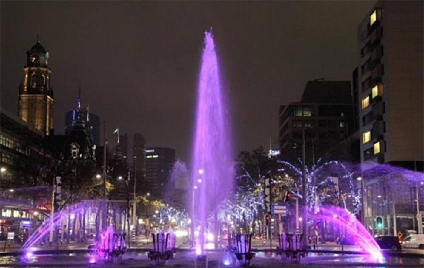 De Hofpleinfontein in Rotterdam kleurt paars.