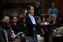 Suu Kyi verdedigt het harde optreden tegen de Rohingya's in het Vredespaleis tijdens een zitting van het Internationale Gerechtshof.