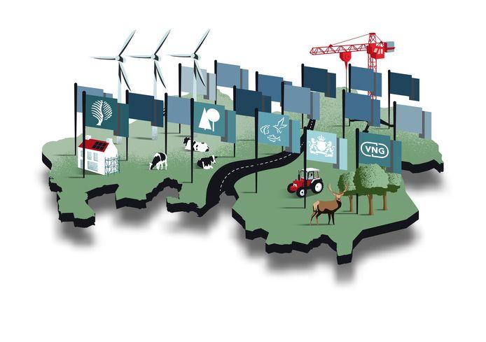 Het is druk in Brabant. In buitengebied is te weinig plek om aan alle wensen te voldoen van wonen, boeren, werken, recreëren en het opwekken van duurzame energie. En heel veel grondeigenaren hebben een vinger in de pap.