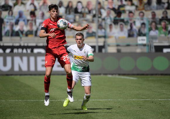 Kai Havertz was met twee doelpunten in de 1-3-gewonnen wedstrijd tegen Borussia Mönchengladbach de matchwinnaar  voor Bayern Leverkusen.