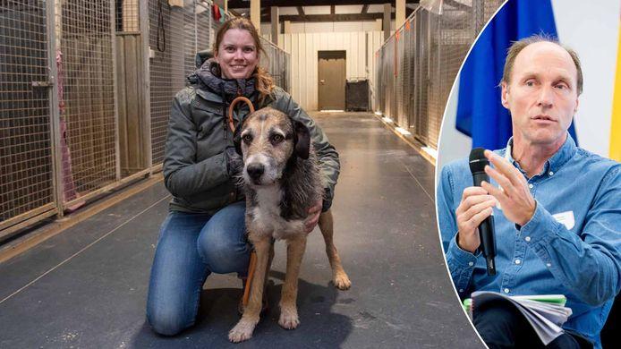 Links: asieluitbaatster Eline Ghekiere van Animal Trust, rechts: Eric Van Tilburgh van de Vlaamse Dienst Dierenwelzijn.