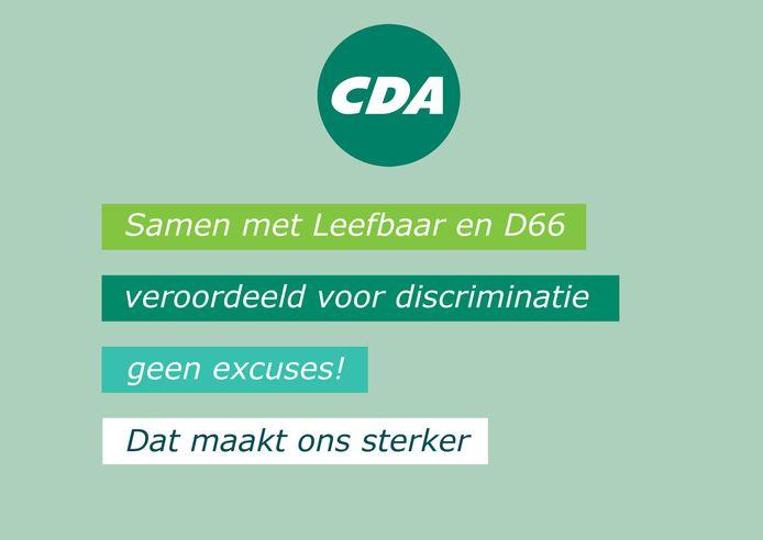 De postkaart in huisstijl van het CDA die door Nida wordt verspreid.