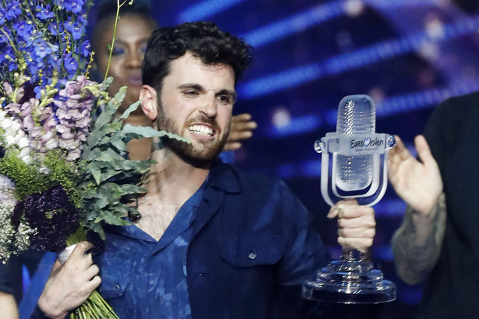 Netherlands' Duncan Laurence celebrates after winning the 64th edition of the Eurovision Song Contest 2019 at Expo Tel Aviv on May 19, 2019, in the Israeli coastal city. (Photo by Jack GUEZ / AFP)