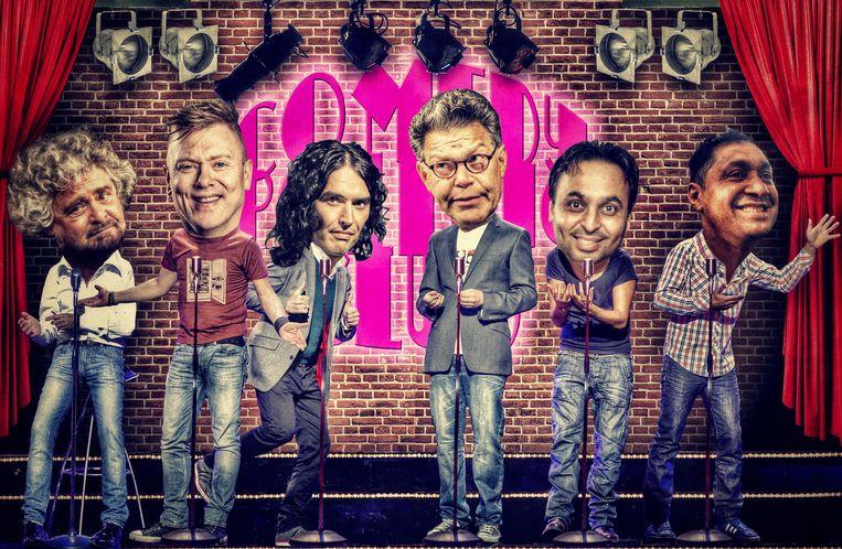 Van links naar rechts: Beppe Grillo (Italië), Jón Gnarr Kristinsson (IJsland), Russell Brand (Engeland), Al Franken (VS), Bhagwant Mann (India) en Tiririca (Brazilië). Beeld Javier Munoz