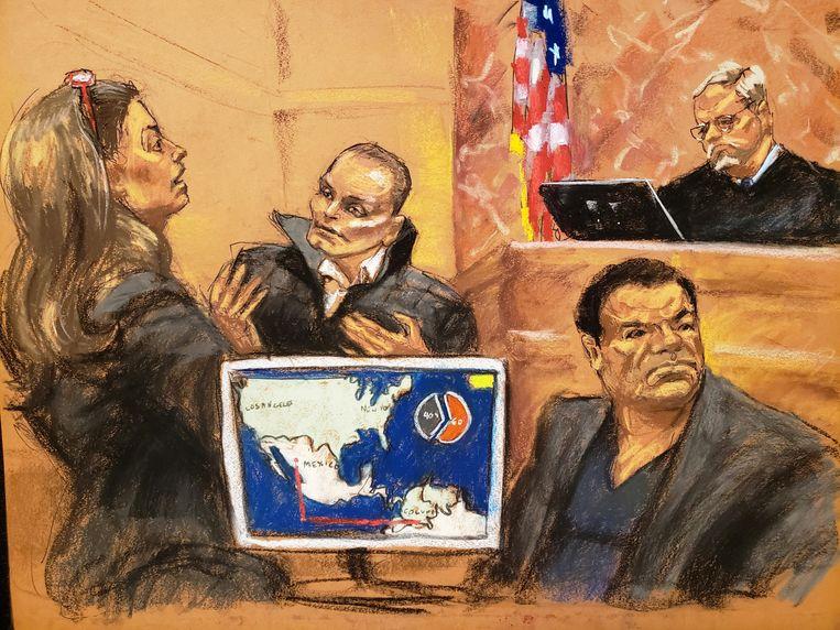 Juan Carlos Ramirez Abadia (links) getuigde in New York tegen de Mexicaanse drugsbaron Joaquin 'El Chapo' Guzman (onderaan).