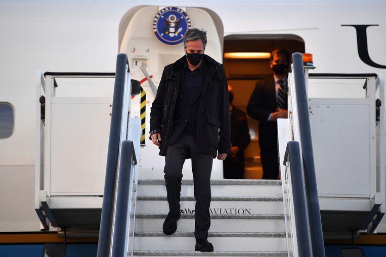 Antony Blinken, de Amerikaanse minister van Buitenlandse Zaken, komt aan in Londen voor de G7-top.  Beeld AP