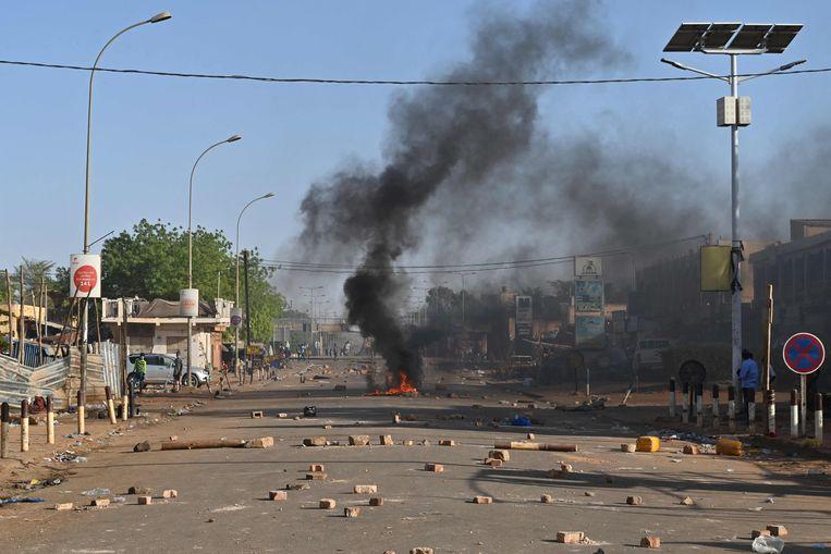 Onlusten in februari in de hoofdstad Niamey in Niger. Beeld AFP