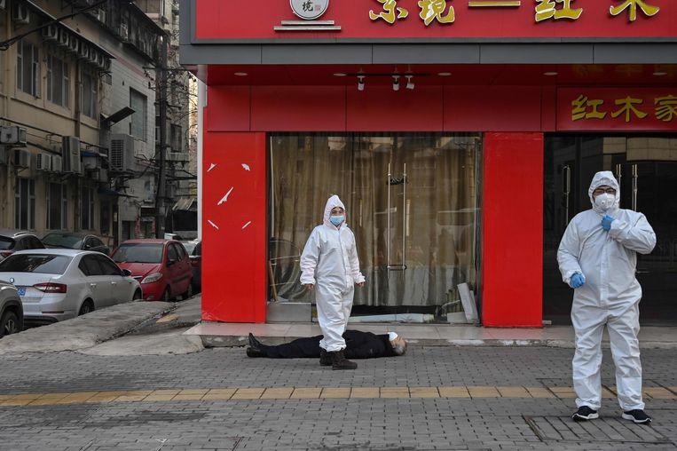 Wuhan tijdens de pandemie. Beeld AFP