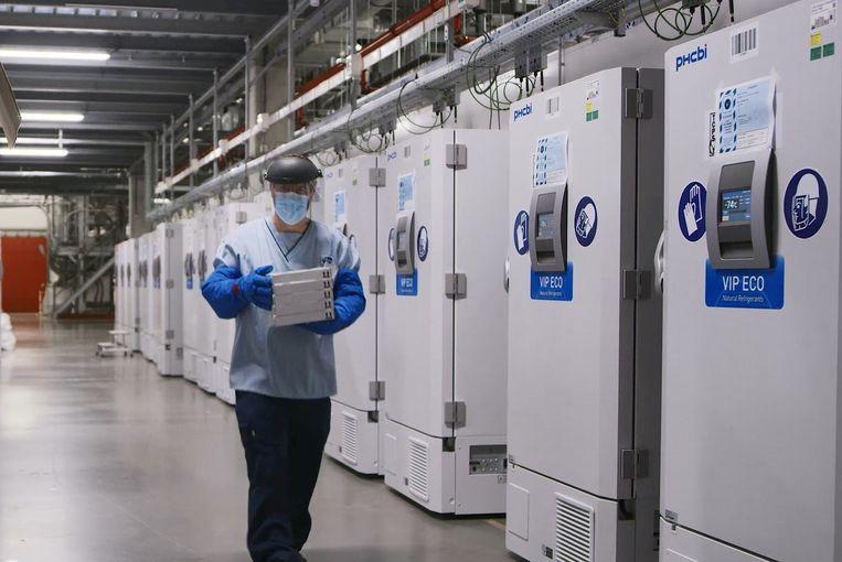 Een werknemer bij de gigantische vriezers voor vaccins op de productiesite van Pfizer in Puurs. Beeld via REUTERS