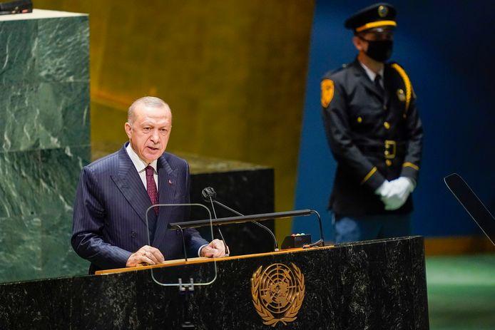 De Turkse president Recep Tayyip Erdogan spreekt tijdens de Algemene Vergadering van de VN.