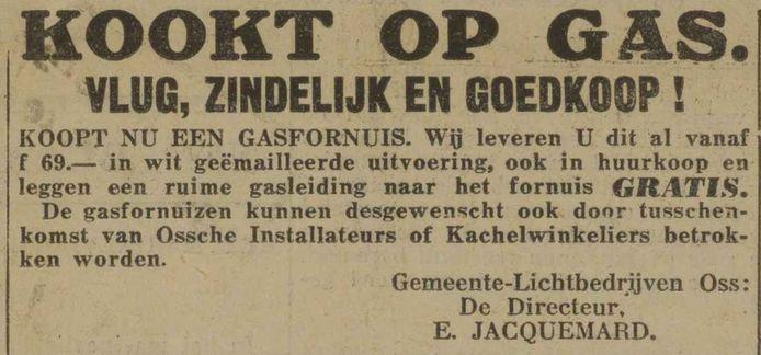 De directeur van de Osse gasfabriek roept op om op gas te gaan koken en bij de gasfabriek een fornuis te kopen (1933).