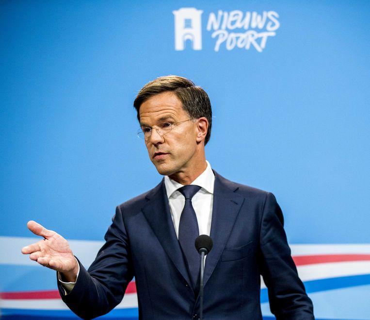 Premier Mark Rutte vrijdag tijdens de persconferentie na afloop van de wekelijkse ministerraad. Beeld ANP