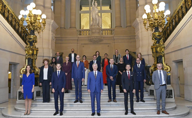 De regering-De Croo bij haar eedaflegging bij de koning op 1 oktober 2020. Beeld Photo News
