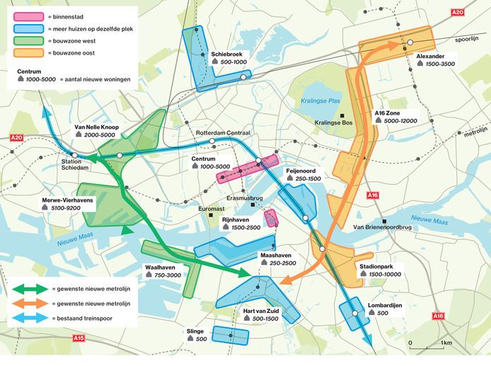 De nieuwe bouwlocaties ingetekend op de kaart van Rotterdam.
