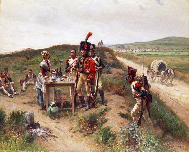 Adrien Moreau: Soldaten van het Napoleontische leger rusten bij een 'cantinière', 1906. Beeld Adrie Moreau