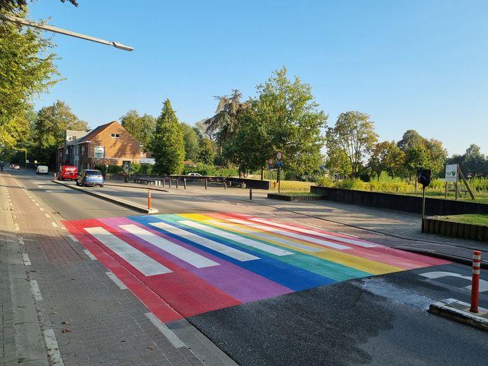 Het regenboogpad in de Oostveldstraat.